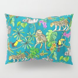 Rainforest Friends - watercolor animals on textured teal Pillow Sham