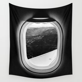 Window Seat // Scenic Mountain View from Airplane Wing // Snowcapped Landscape Photography Wall Tapestry