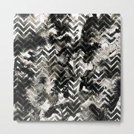 Black & White Chevron Ink Spill Metal Print