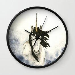 Unicorn in Blue Mist Wall Clock