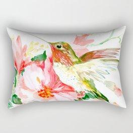 Hummingbird, Hawaiian Design, Hibiscus and Hummingbird Rectangular Pillow