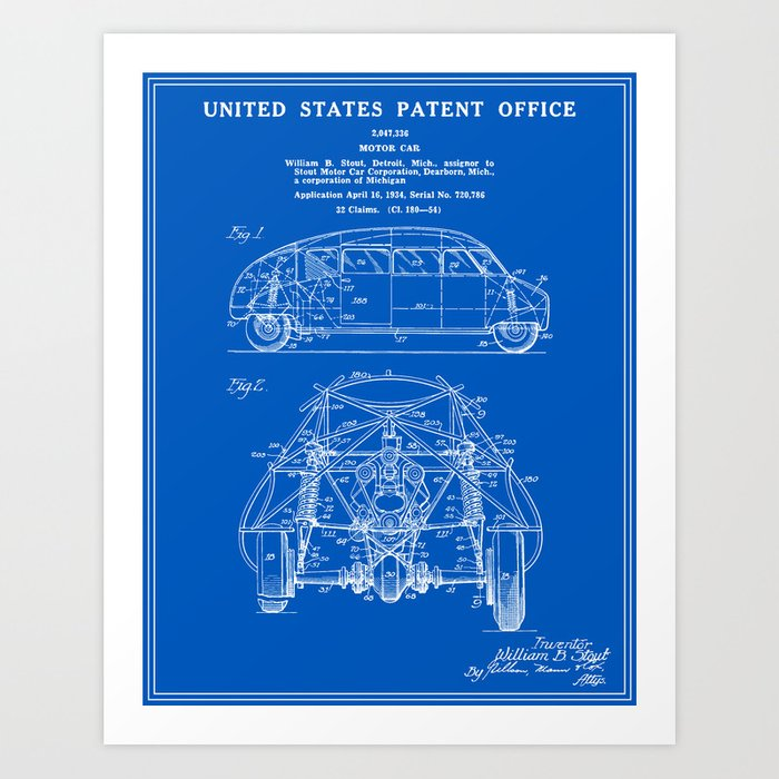 Motor car patent blueprint art print by finlaymcnevin society6 motor car patent blueprint art print malvernweather Image collections