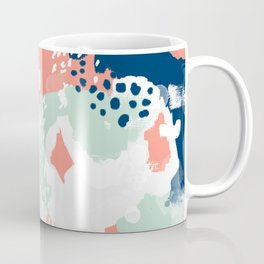 Bristol - acrylic painting abstract navy mint coral modern color palette Coffee Mug