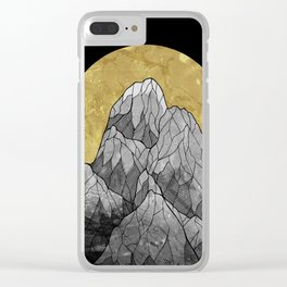 The Golden moon rises over the highest peak Clear iPhone Case