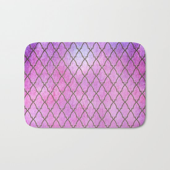 Purple and blue Quatrefoil with Gold Frame- Elegant Morrocan Watercolor Pattern Bath Mat