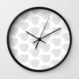 Coffee Mug Print (Grey/White) Wall Clock