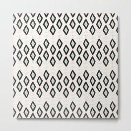 Bohemian Diamonds - Dark gray, light blue and cream pattern Metal Print
