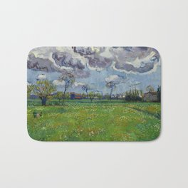 Meadow With Flowers Under a Stormy Sky Bath Mat