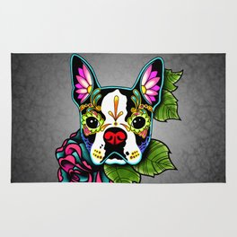 Boston Terrier in Black - Day of the Dead Sugar Skull Dog Rug