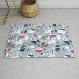Veterinary medicine, happy and healthy friends // pastel blue background Rug