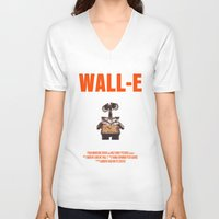 wall e V-neck T-shirts featuring Wall-E by FunnyFaceArt