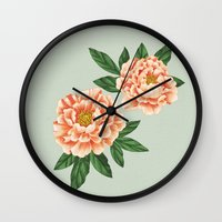peonies Wall Clocks featuring Peonies by A.Vogler
