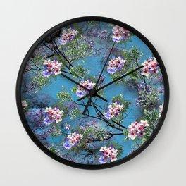 Jacaranda Blooms in purple, pink, rose, on tree-leaves  Wall Clock