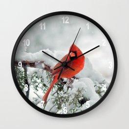 Cardinal on a Snowy Branch Wall Clock