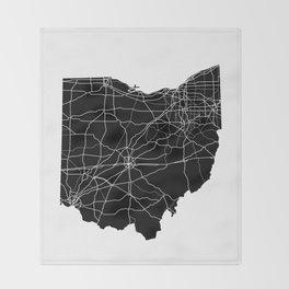 Ohio Black Map Throw Blanket