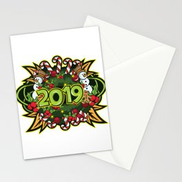 The Happy New Year 2019 New Year's Eve 2019 Gift T-Shirt Year Of The Pig Snowman Candy CaneDesign. Stationery Cards