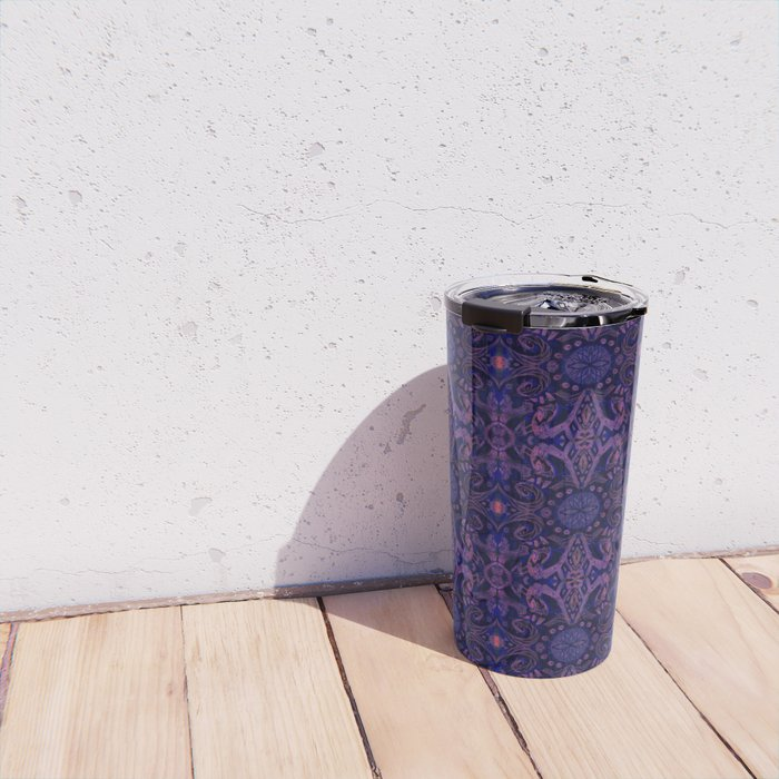 Curves & lotuses, abstract pattern, ultra-violet Travel Mug