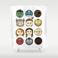 avenger Shower Curtains featuring Avenger Emojis :) by jozi.art