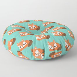 Sleeping Fox Print - Teal Floor Pillow