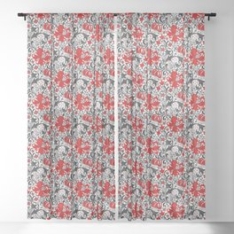 William Morris Iris and Lily, Black, White and Red Sheer Curtain