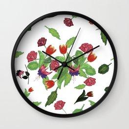 Hand-made Flowers Wall Clock