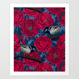 Wrens in the peonies Art Print