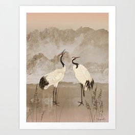 Wintering Manchurian Cranes Art Print
