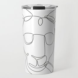 Billy Goat Wearing Sunglasses Cigar Continuous Line Travel Mug