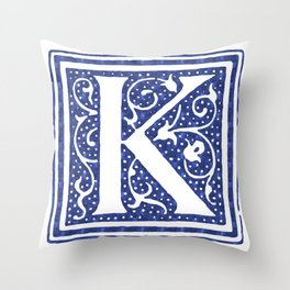 Floral Letter Type - Letter K Throw Pillow