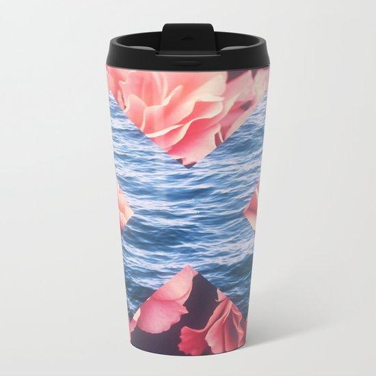 flowers - roses - ocean - waves Metal Travel Mug