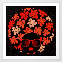 Afro Diva : Coral Red Art Print