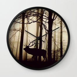 Forest night deer Wall Clock