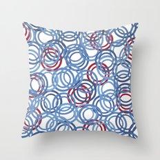 Blue Discs Throw Pillow