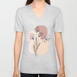 Minimal Line Art Flowers And Butterfly Unisex V-Neck
