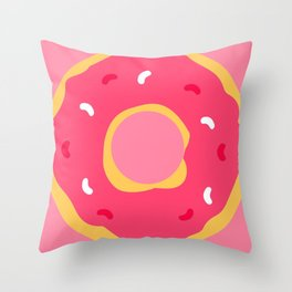 Cute Food Art Simple Pink Donut Throw Pillow