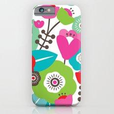 Colorful retro spring flowers illustration pattern iPhone 6 Slim Case