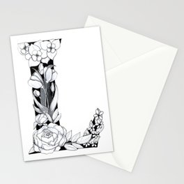Floral Pen and Ink Letter L Stationery Cards