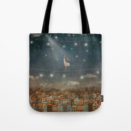 Illustration of  cute houses and  pretty girl   in night sky Tote Bag