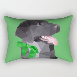 Low Polygon Black Labrador - Green Bow Rectangular Pillow