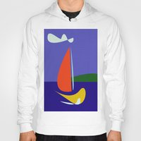sailboat Hoodies featuring cute sailboat by laika in cosmos