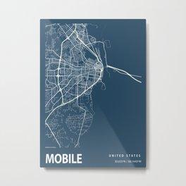 Mobile Blueprint Street Map, Mobile Colour Map Prints Metal Print