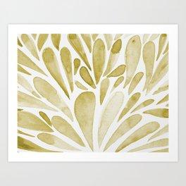 Watercolor artistic drops - yellow Art Print