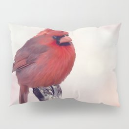 Male Northern Cardinal perches on a stump Pillow Sham