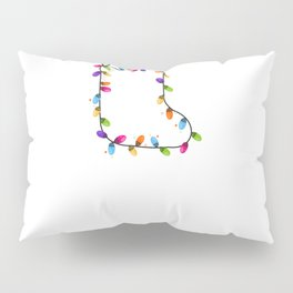 Christmas sock with colorful light bulb. Xmas design, Happy new year simple greeting card vector Pillow Sham