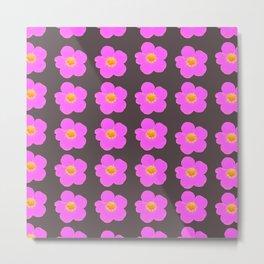 Tiny pink retro flowers on a dark grey background #decor #society6 #buyart Metal Print