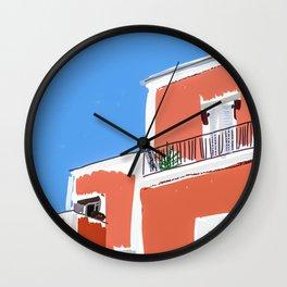 Colorful building facade in Ischia island Italy  Wall Clock