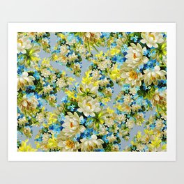 Flowers, Petals, Leaves, Blossoms - Blue Yellow Art Print