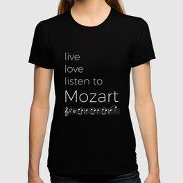 Live, love, listen to Mozart (dark colors) T-shirt