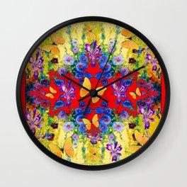 RED GARDEN  PURPLE FLOWERS YELLOW BUTTERFLIES Wall Clock
