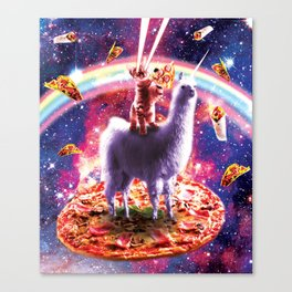 Laser Eyes Outer Space Cat Riding On Llama Unicorn Canvas Print